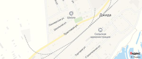 Трактовая улица на карте поселка Джиды с номерами домов