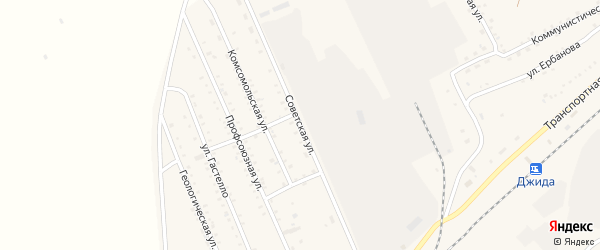 Советская улица на карте поселка Джиды с номерами домов