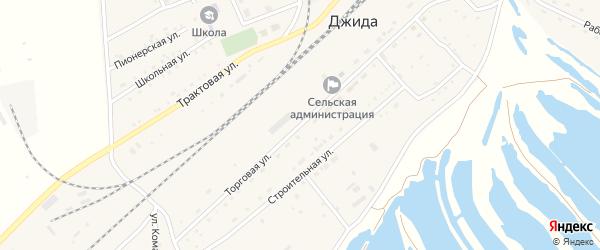 Торговая улица на карте поселка Джиды с номерами домов