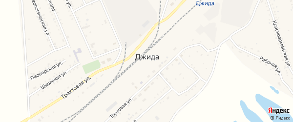 Комсомольский переулок на карте поселка Джиды с номерами домов