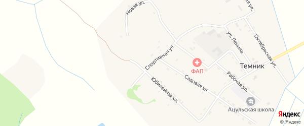 Спортивная улица на карте поселка Темника с номерами домов