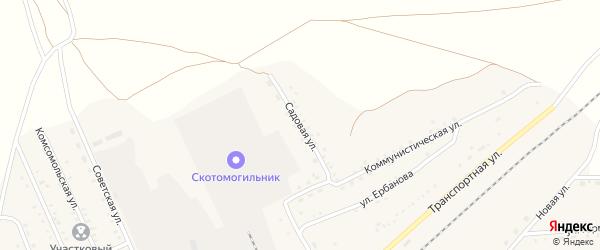 Садовая улица на карте поселка Джиды с номерами домов