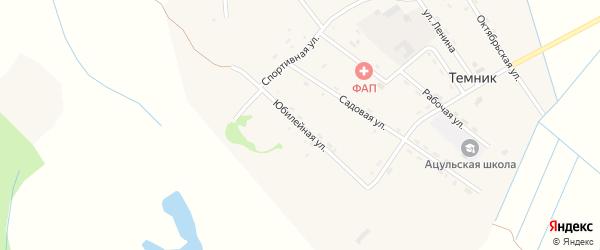 Юбилейная улица на карте поселка Темника с номерами домов