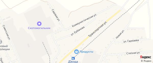 Улица Ербанова на карте поселка Джиды с номерами домов