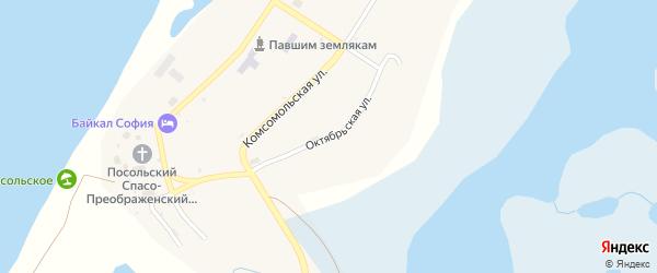 Октябрьская улица на карте Посольского села с номерами домов