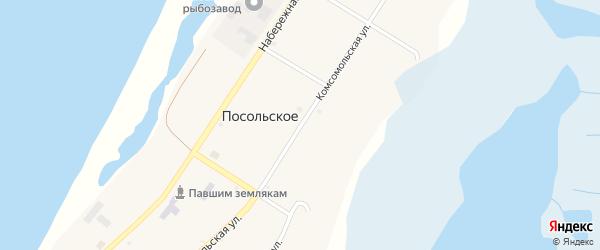Комсомольская улица на карте Посольского села с номерами домов