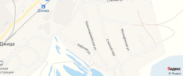Красноармейская улица на карте поселка Джиды с номерами домов