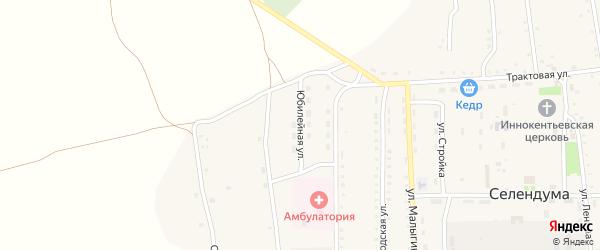 Юбилейная улица на карте села Селендума с номерами домов