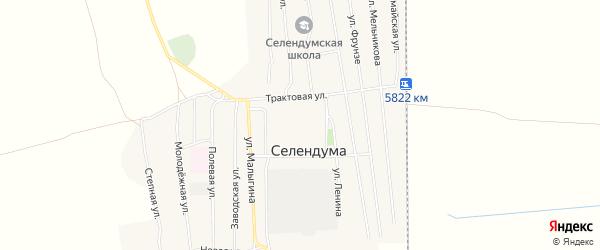 Карта села Селендума в Бурятии с улицами и номерами домов