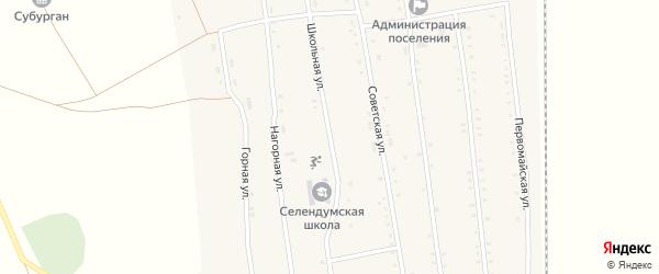 Школьная улица на карте села Селендума с номерами домов