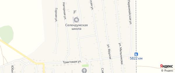 Школьный переулок на карте села Селендума с номерами домов