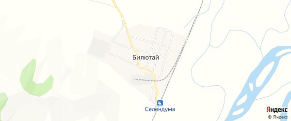 Карта села Билютай в Бурятии с улицами и номерами домов