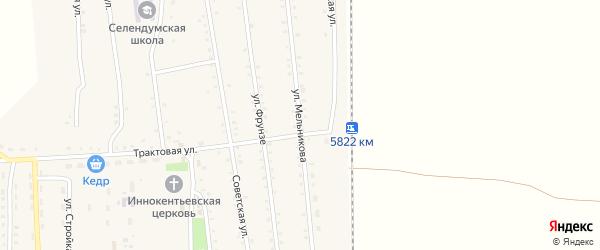 Улица Мельникова на карте села Селендума с номерами домов