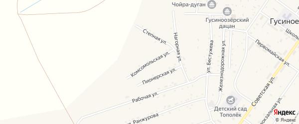 Комсомольская улица на карте села Гусиного Озера с номерами домов