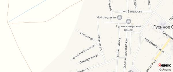 Степная улица на карте села Гусиного Озера с номерами домов