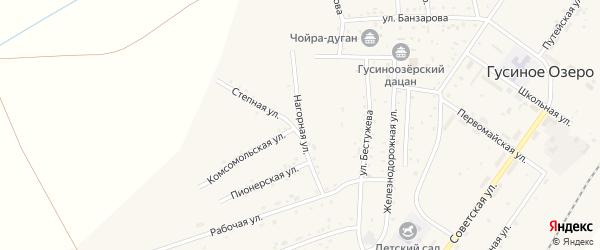 Нагорная улица на карте села Гусиного Озера с номерами домов