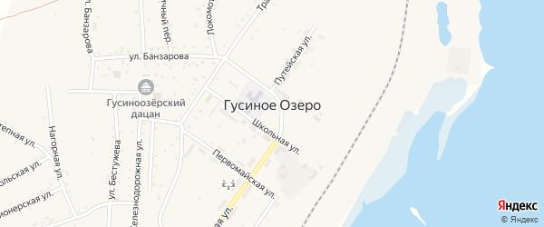 Кирпичная улица на карте села Гусиного Озера с номерами домов