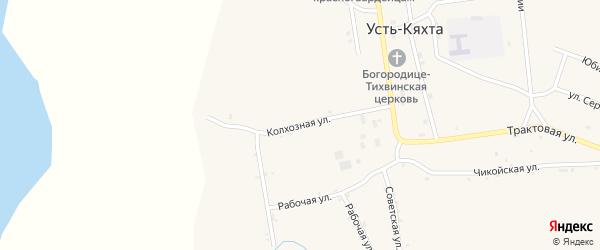 Колхозная улица на карте села Усть-Кяхты с номерами домов