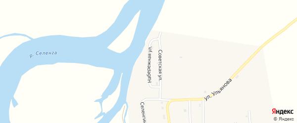 Набережная улица на карте села Усть-Кяхты с номерами домов