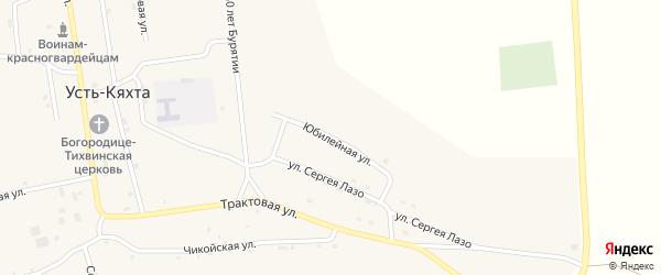 Юбилейная улица на карте села Усть-Кяхты с номерами домов