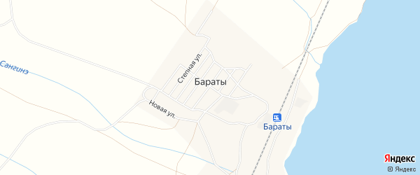 Карта поселка Бараты в Бурятии с улицами и номерами домов