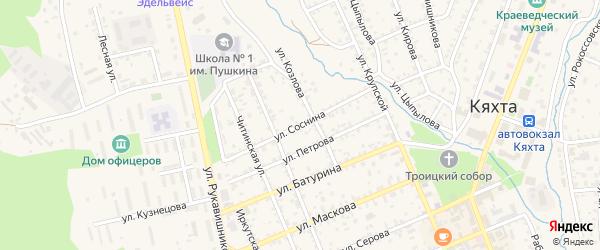 Улица Соснина на карте Кяхты с номерами домов