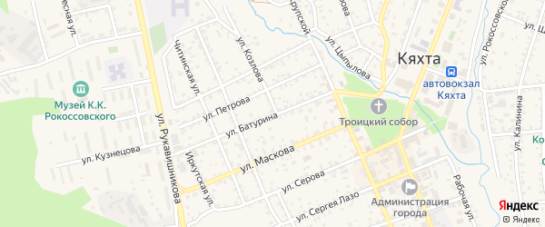 Улица Батурина на карте Кяхты с номерами домов