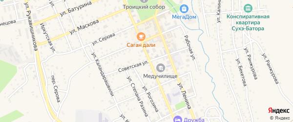 Советская улица на карте Кяхты с номерами домов