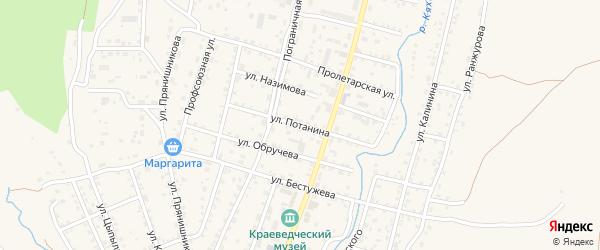 Улица Потанина на карте Кяхты с номерами домов