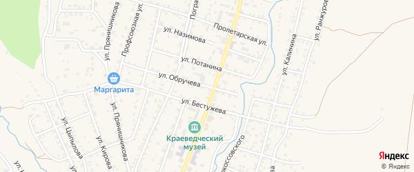 Улица Обручева на карте Кяхты с номерами домов