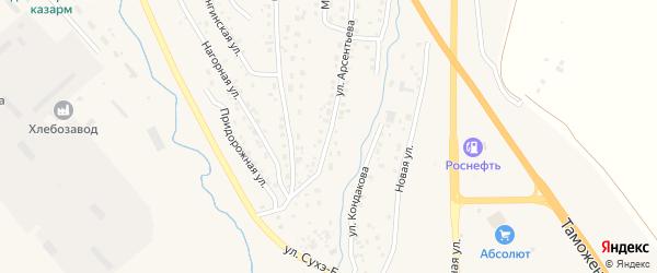 Переулок Арсентьева на карте Кяхты с номерами домов
