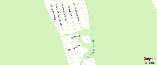 Комсомольская улица на карте садового некоммерческого товарищества Цементника с номерами домов