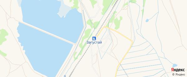 Карта поселка Загустая города Гусиноозерска в Бурятии с улицами и номерами домов