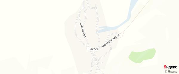 Карта улуса Енхор в Бурятии с улицами и номерами домов