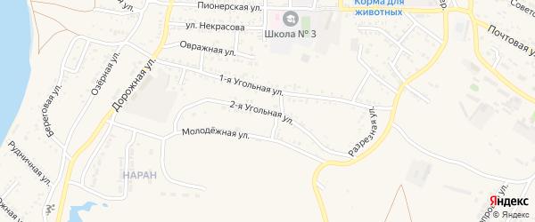 Угольная 2-я улица на карте Гусиноозерска с номерами домов