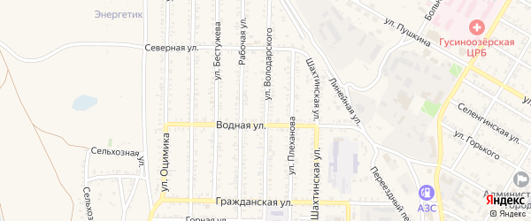Улица Володарского на карте Гусиноозерска с номерами домов