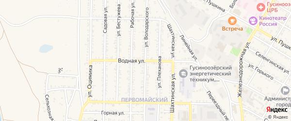 Водная улица на карте Гусиноозерска с номерами домов