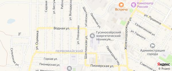 Шахтинская улица на карте Гусиноозерска с номерами домов