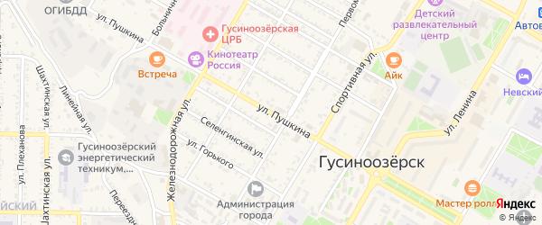 Улица Пушкина на карте Гусиноозерска с номерами домов