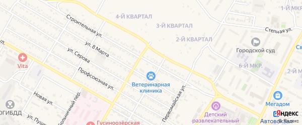 Строительная улица на карте Гусиноозерска с номерами домов