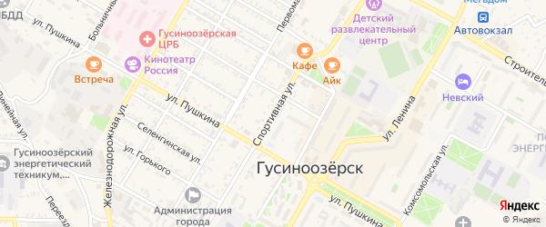 Спортивная улица на карте Гусиноозерска с номерами домов