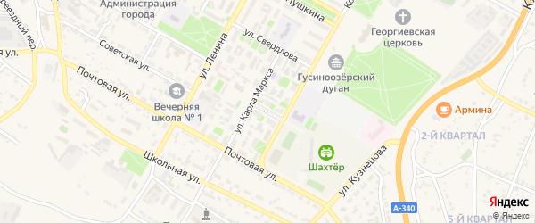 Школьный переулок на карте Гусиноозерска с номерами домов