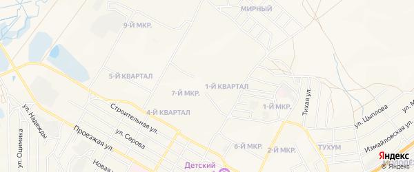 Карта 7-й микрорайона города Гусиноозерска в Бурятии с улицами и номерами домов