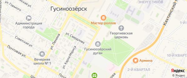 Комсомольская улица на карте Гусиноозерска с номерами домов