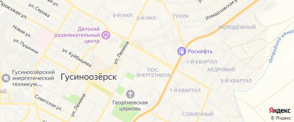Карта поселка Энергетикова города Гусиноозерска в Бурятии с улицами и номерами домов