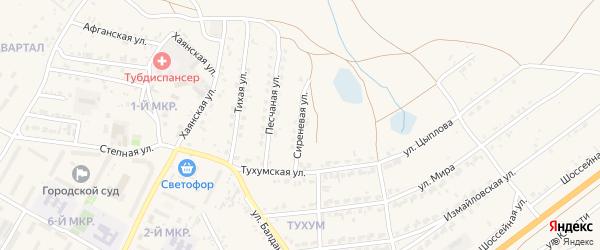 Сиреневая улица на карте Гусиноозерска с номерами домов