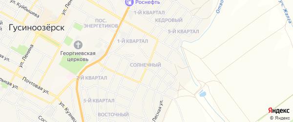 Карта Солнечного поселка города Гусиноозерска в Бурятии с улицами и номерами домов