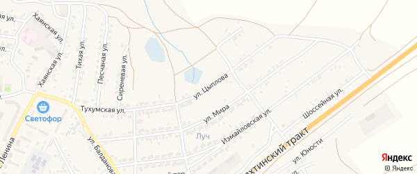Улица Цыплова на карте поселка Тухума с номерами домов