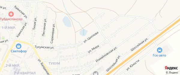 Улица Цыплова на карте Гусиноозерска с номерами домов