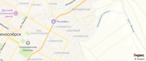 Карта Кедрового поселка города Гусиноозерска в Бурятии с улицами и номерами домов